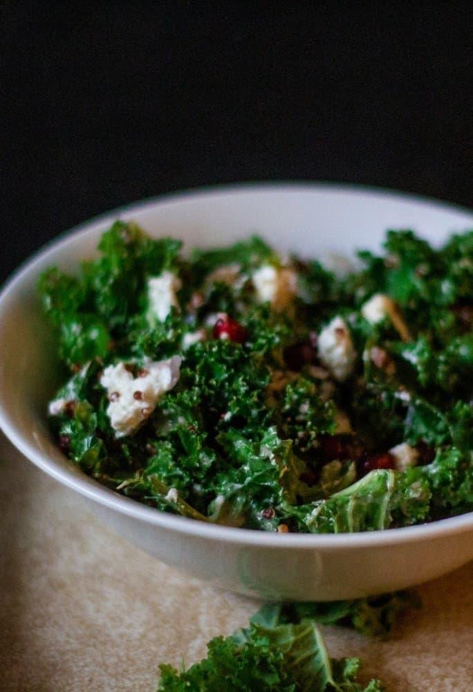 kale quinoa salad with pomagranates