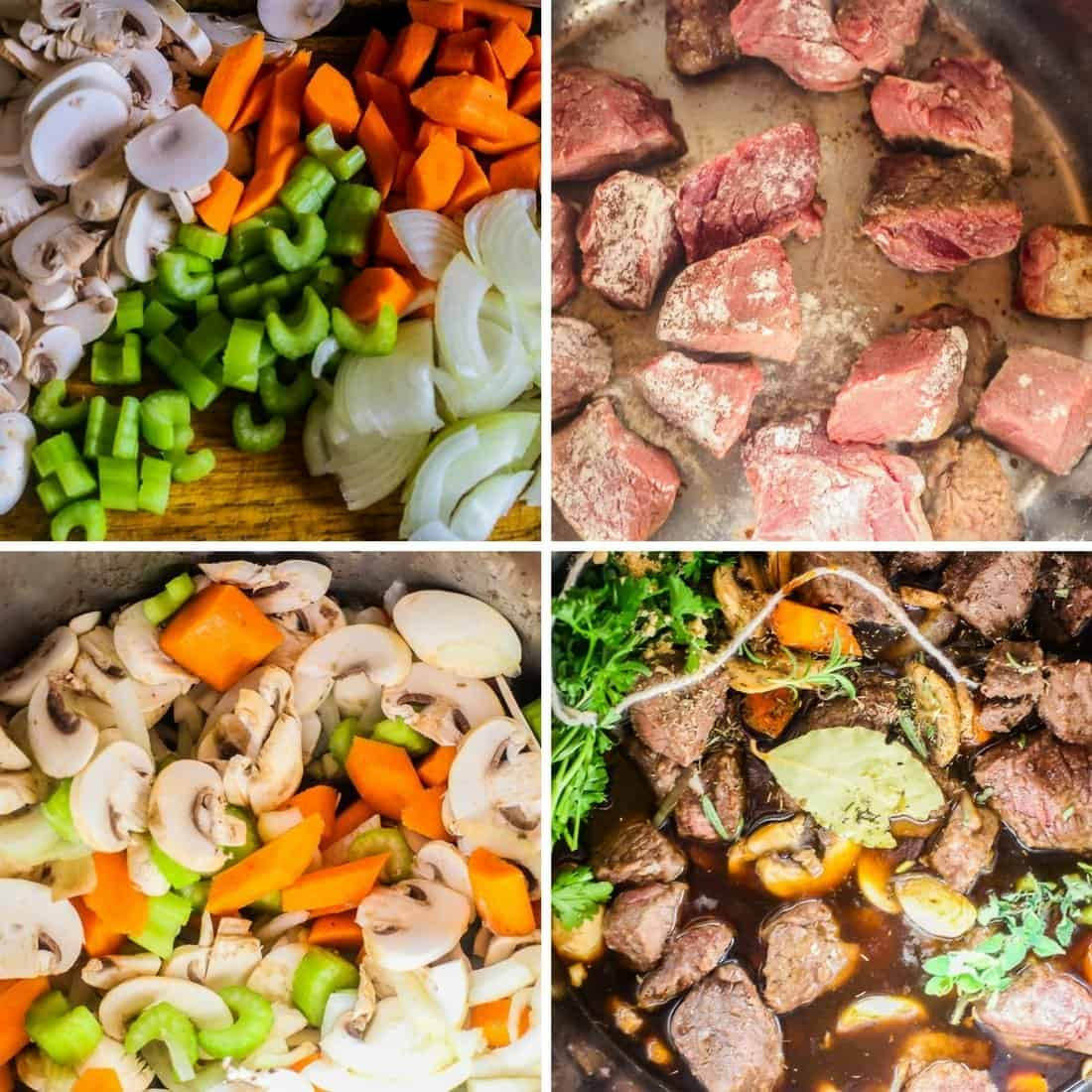 beef mushroom guinness soup is made with tasty veggies. The beef is browned and Guinness Stout is poured over the meat and veggies. The ingredients can be braised, slow cooked, or made in the Instant Pot.