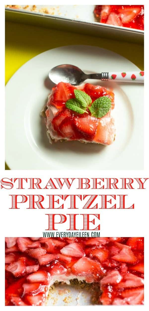 A collage of strawberry pretzel pie dessert, one photo is strawberry pretzel pie slice with mint on a white dessert plate. The second photo is the strawberry jello dessert in the pie plate with a slice cut out to see the layers of the pie.