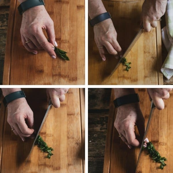 A collage to show how to roll fresh basil leaves than dice the basil to form chiffonade of basil.