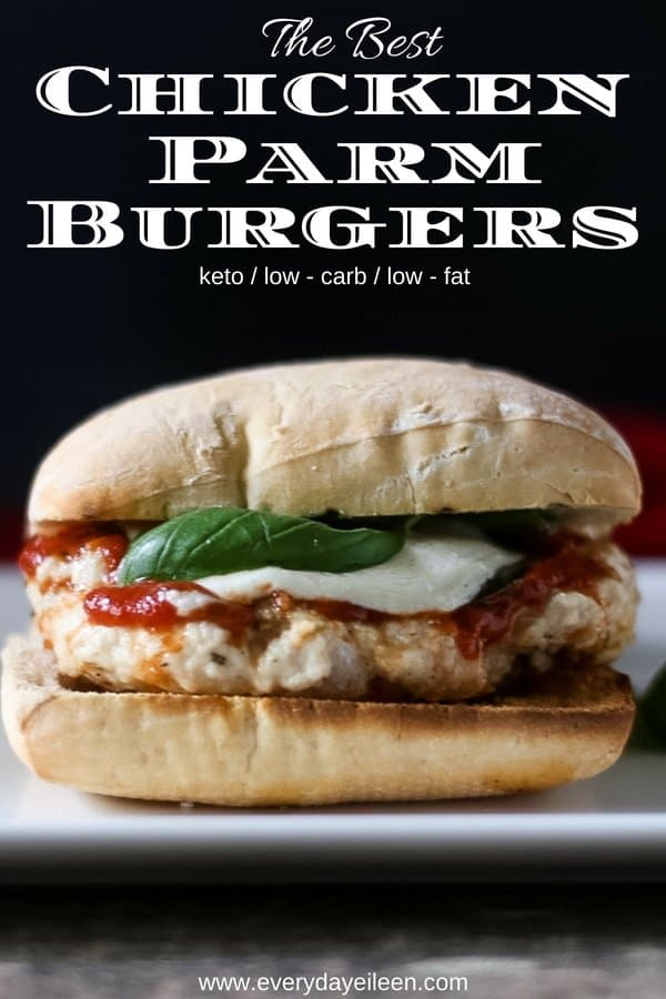 Love chicken parmesan, this chicken parm burger is super flavorful and topped with fresh basil, marinara sauce, and fresh mozzarella! Ready in 8 minutes! #burgermonth #chickenburger #chickenparmesan #chickenparmburger #grilling #summergrilling #chicken #everydayeileen #Girlcarivore #bestchickenparm #easychickenparmburger