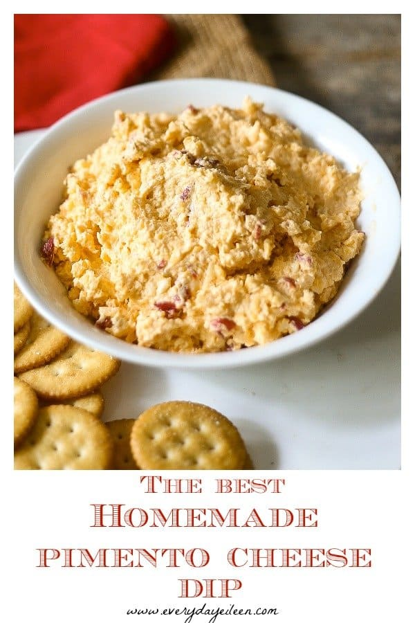Enjoy the best Homemade Pimento Cheese dip! Ready in 10 minutes and always a hit! Everyone will want your recipe! Made with lighter ingredients to keep calories down! #pimentocheesedip #partydip #homemadepimentocheese #appetizer #pimentocheesesandwich #cheesedip #everydayeileen #nationalcheeseday