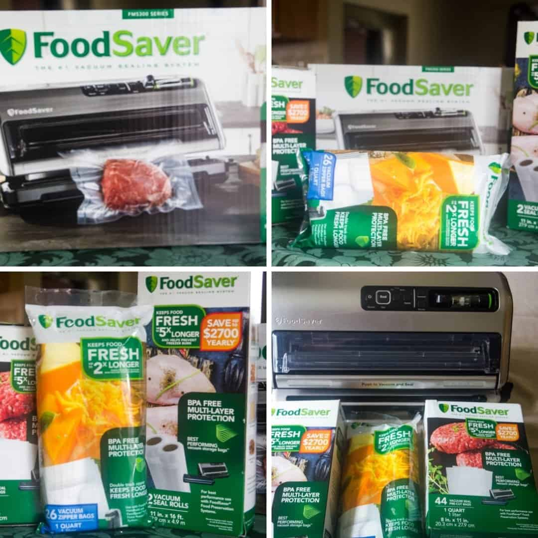 a collage of photos displaying FoodSaver® FM5330 Vacuum Sealing System FoodSaver® Heat-Sealed Rolls and FoodSaver® Heat-Sealed Bags that will be used to freeze Instant Pot Swedish Meatballs
