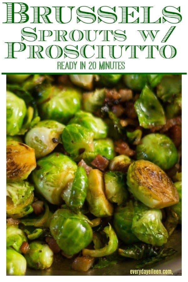 Pinterest image for Brussels Sprouts with Prosciutto