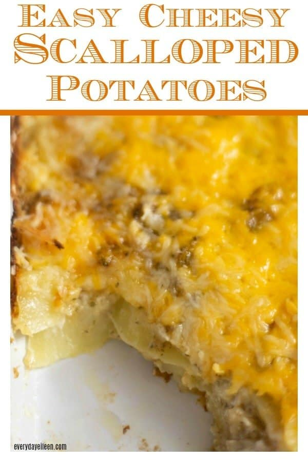 Delicious cheesy scalloped potatoes that have been cooked topped with melted cheese.