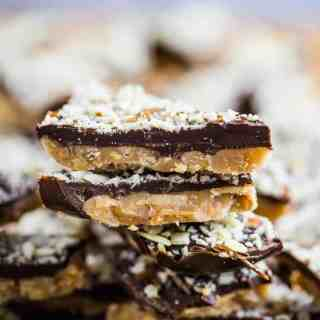 Delicious almond roca stacked on a Holiday plate ready to be served for snacks