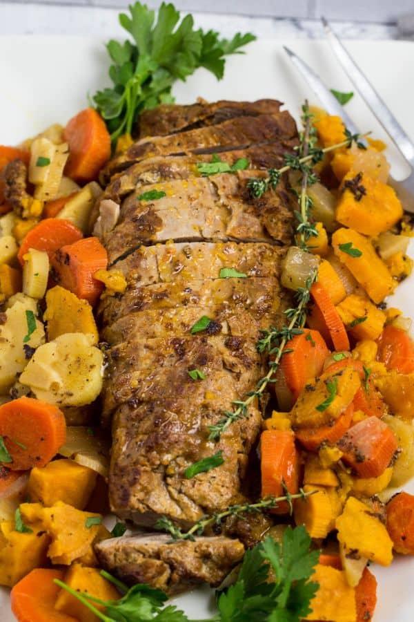 pressure cooker pork tenderloin with potatoes and root veggies