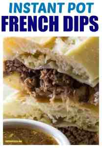 FRENCH DIP sandwiches with an au jus on a white plate.