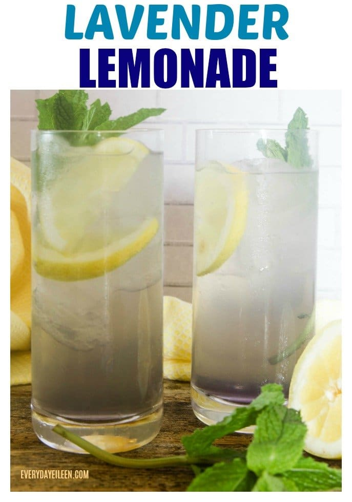Delicious lavender lemonade in tall glasses garnished with lemon and mint