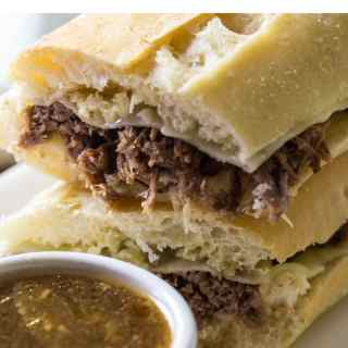 Delicious french dip on a hoagie roll