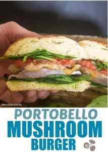 pinterest pin for portobello mushroom burgers