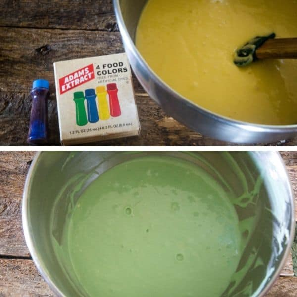 Photos of cake batter for a beach cake