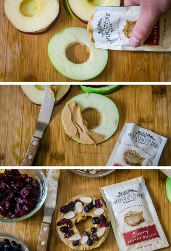Step by step instructions to make apple slices topped with peanut butter.