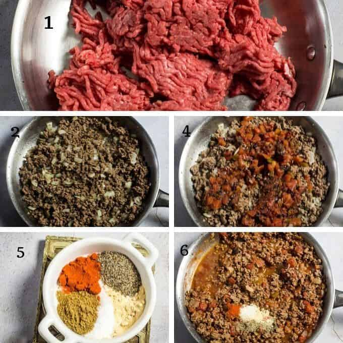 the step by step pictorial of making taco meat