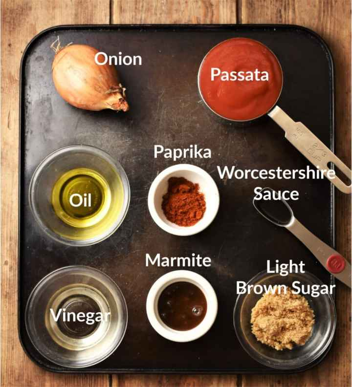 Healthy bbq sauce ingredients in individual dishes.