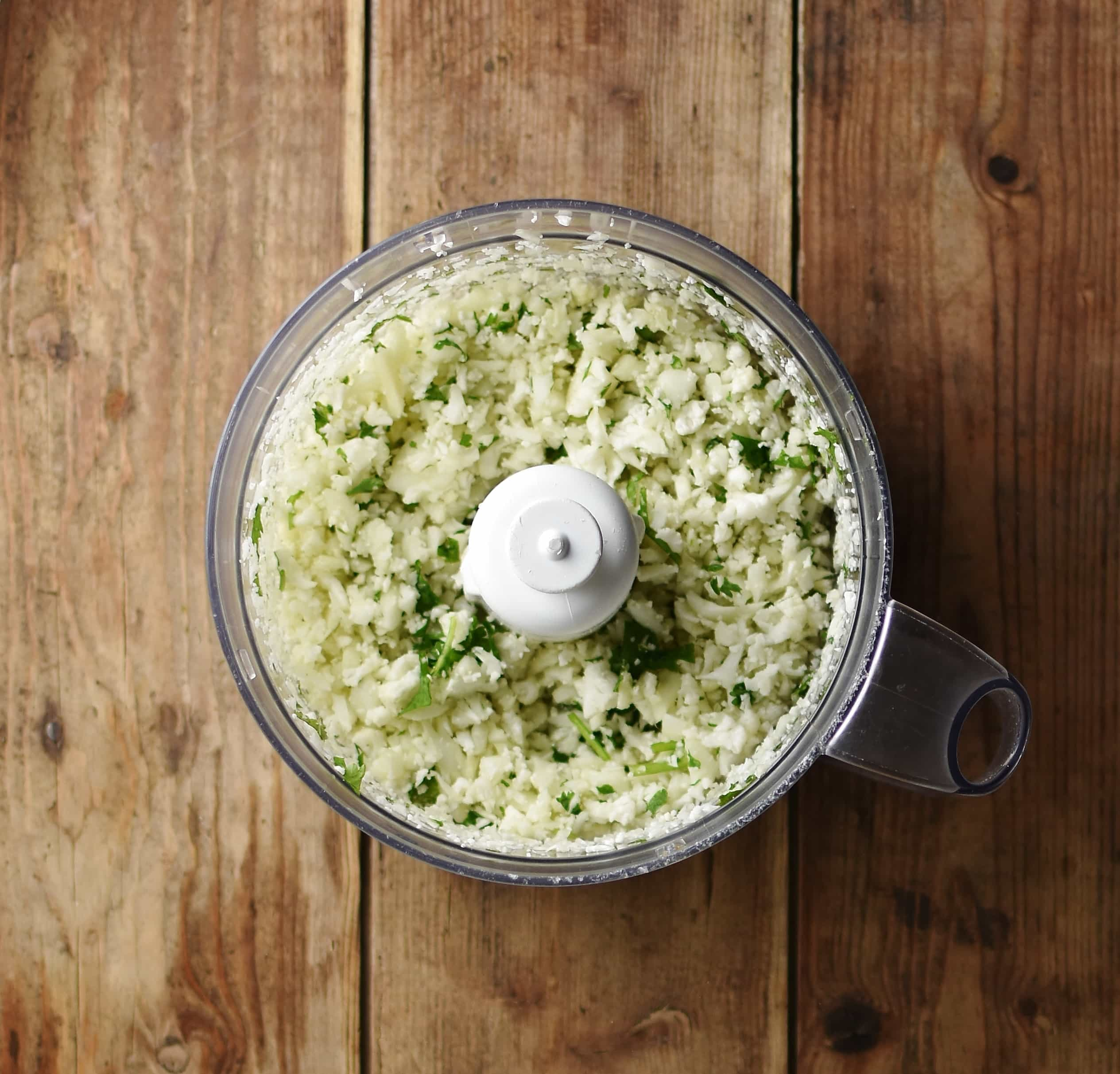 Cauliflower rice mixture in blender.