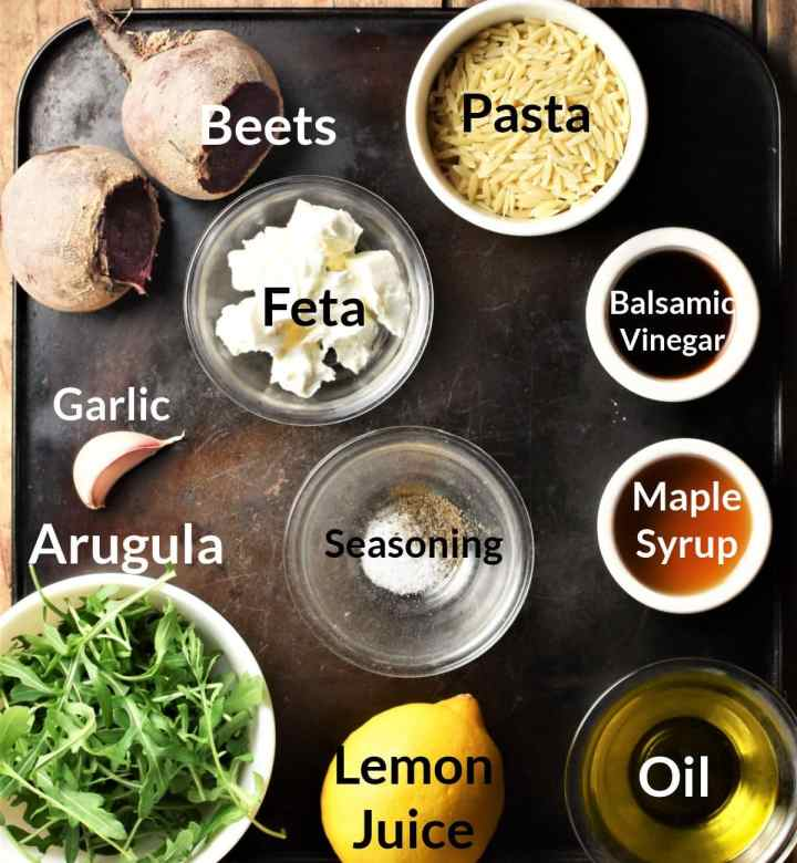 Ingredients for making beet and feta salad in individual dishes.