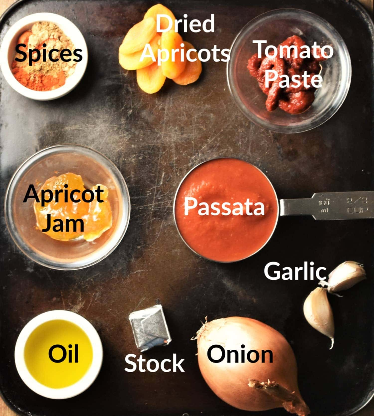 Apricot chicken ingredients in individual dishes.