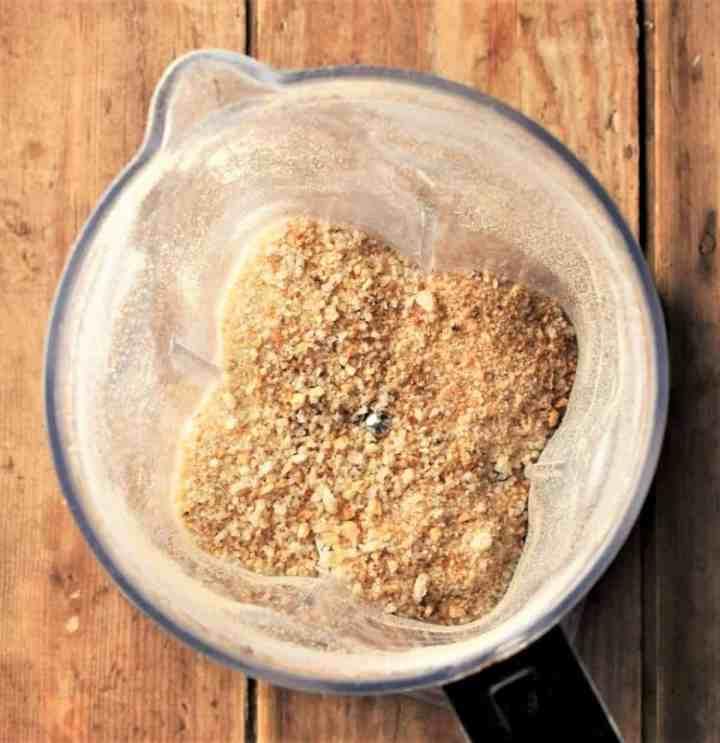 Top down view of breadcrumbs inside blender.