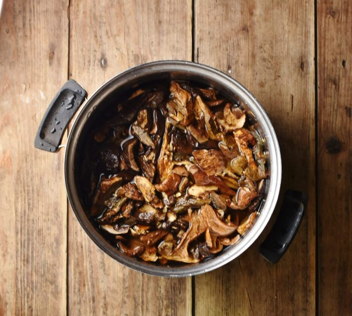 Dried porcini mushrooms in pot with water.