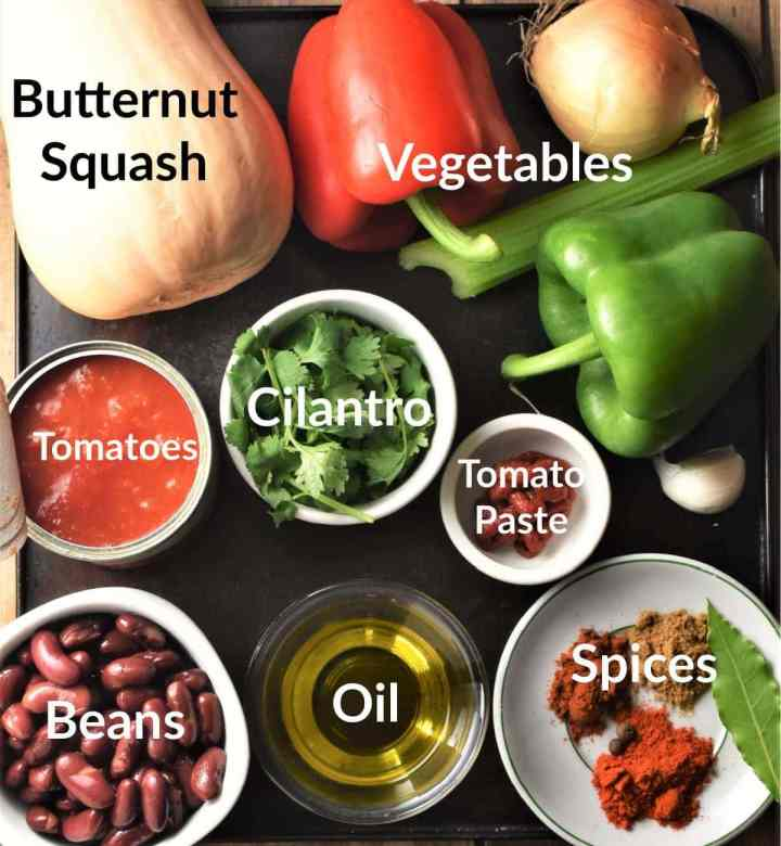Butternut squash chili ingredients in individual dishes.
