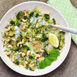 Broccoli Bean Thread Vermicelli Salad with Hoisin Dressing