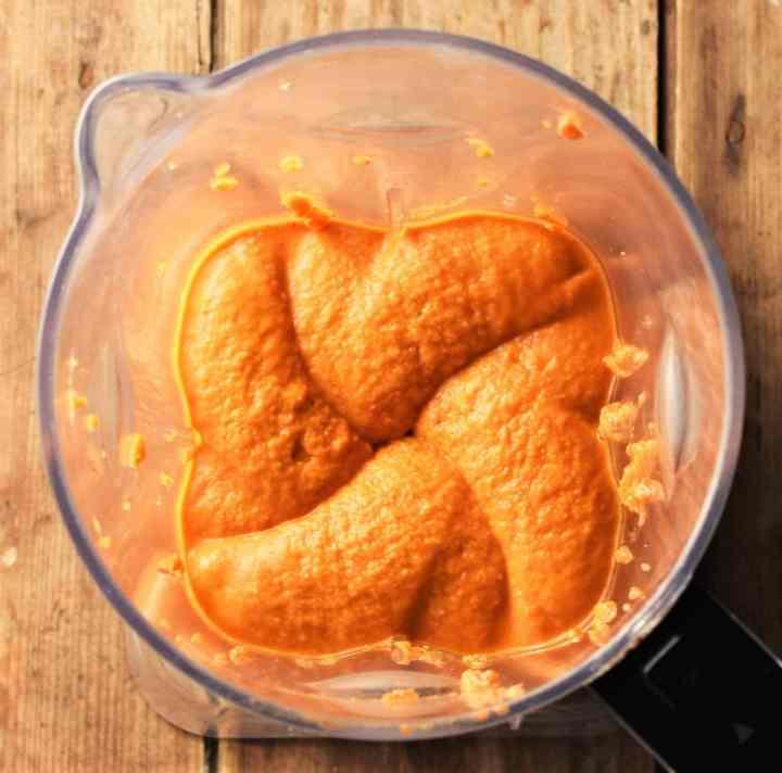 Creamy pepper dip mixture in blender.