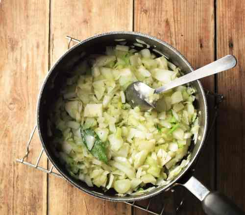 Chopped onion, celery and fennel in large pot with spoon.