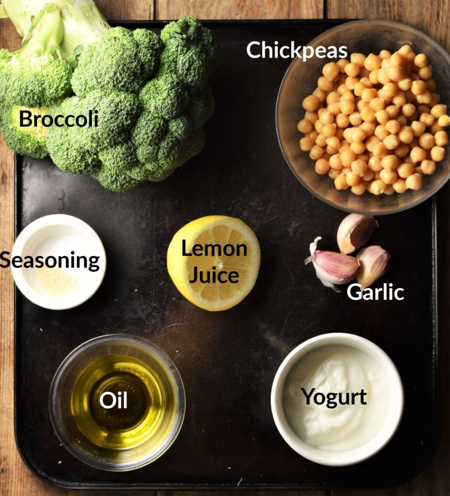 Broccoli hummus ingredients in individual dishes.