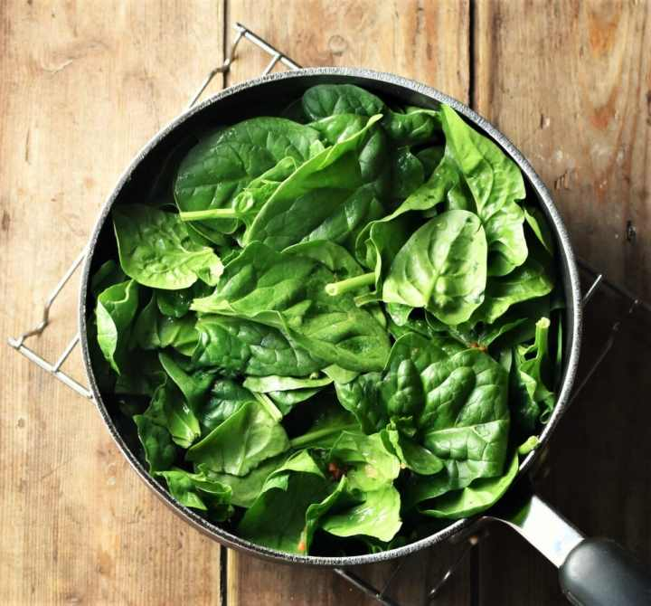 Spinach in large pot.