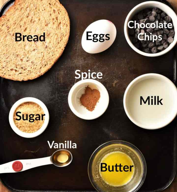 French toast muffins ingredients in individual dishes.
