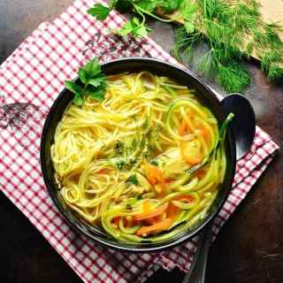 Healthy Low Carb Chicken Noodle Soup Recipe with Veggie Spaghetti