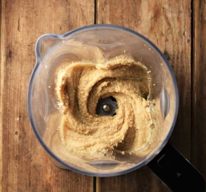 Hazelnut butter mixture in blender.