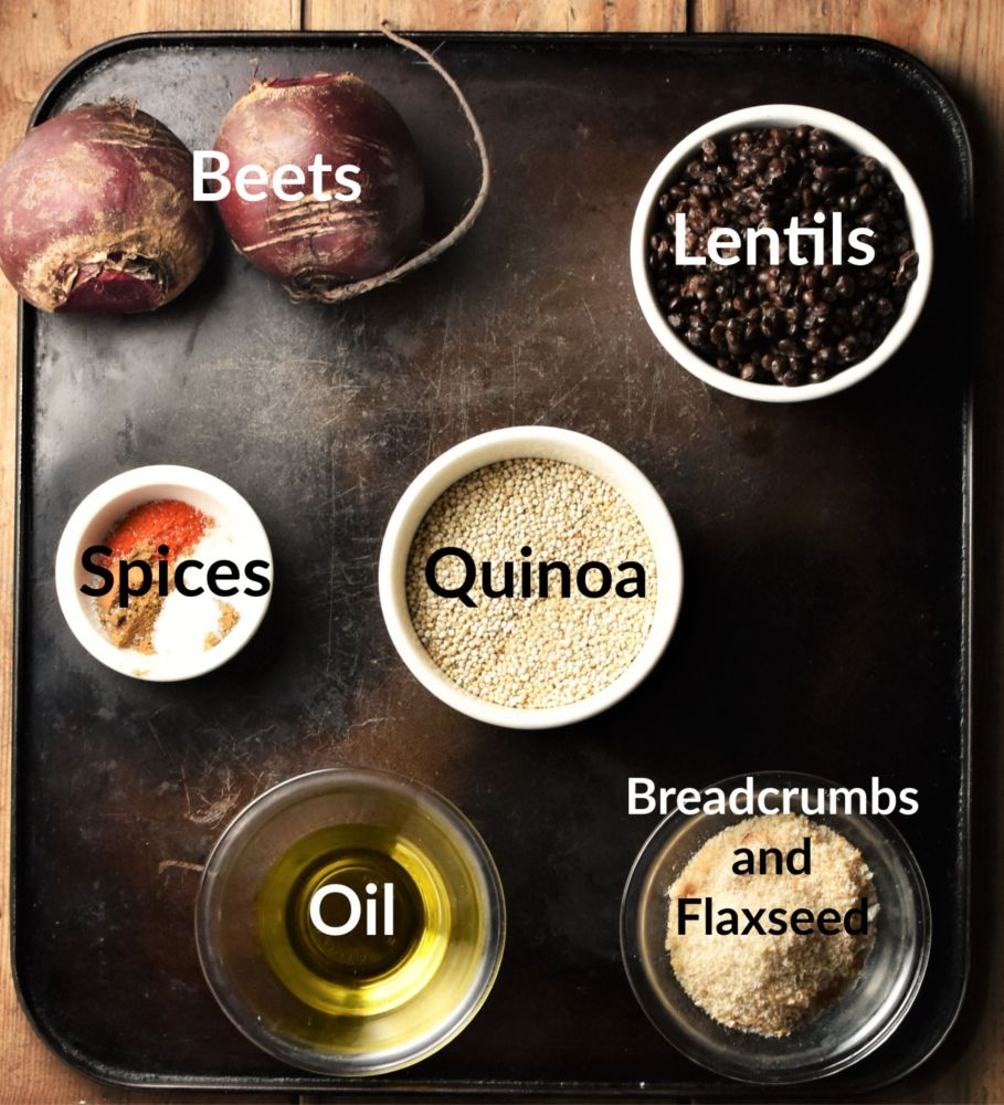Quinoa, lentils, oil, 2 beets and spices in individual dishes.