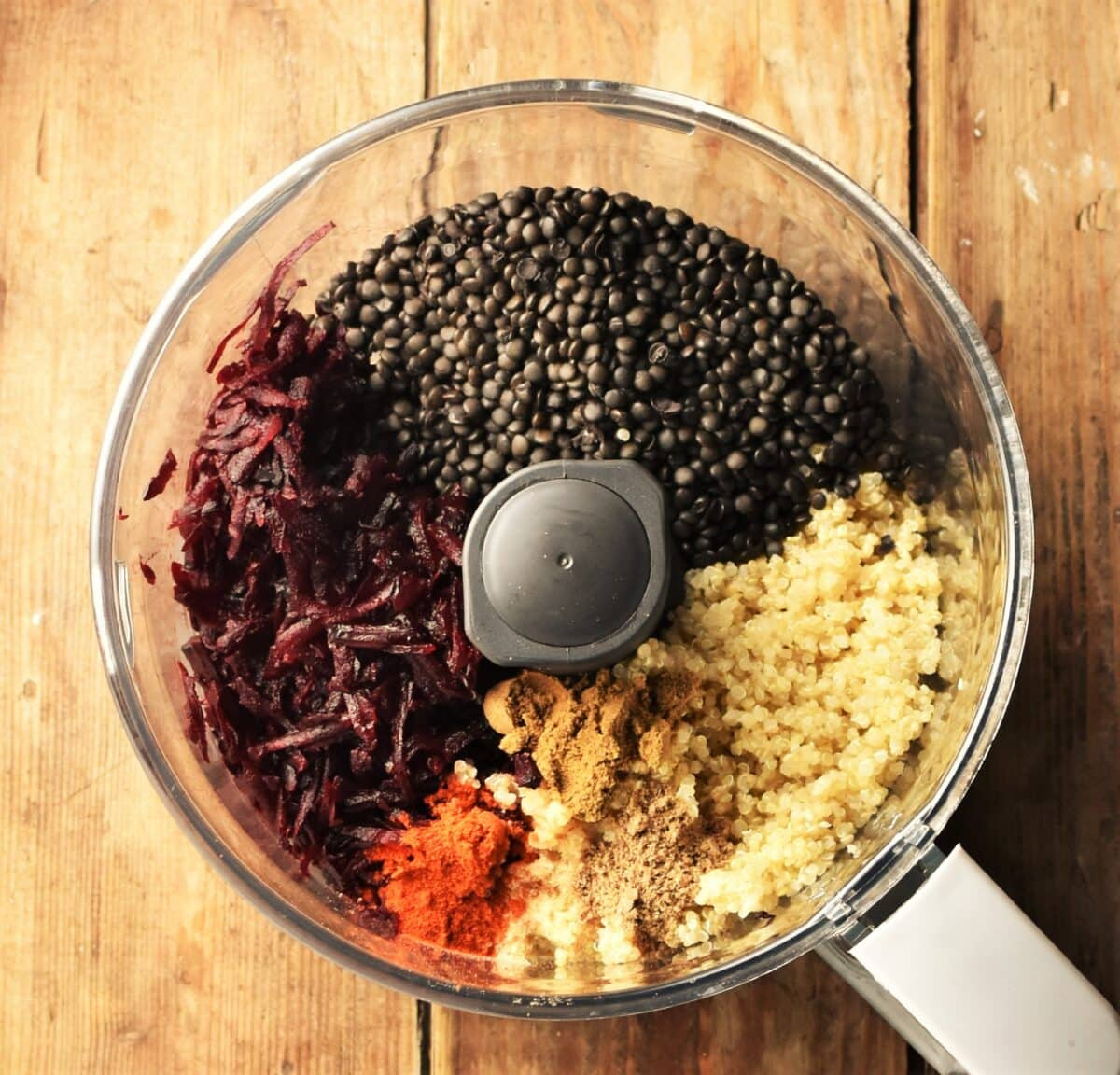 Grated beetroot, quinoa, lentils and spices in blender.