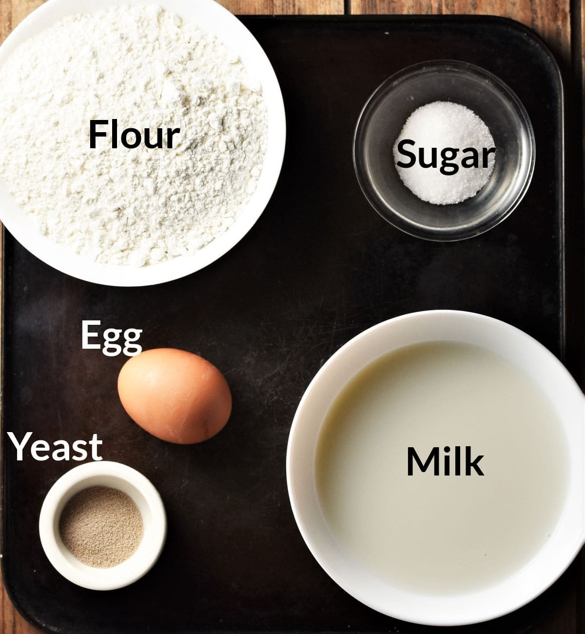 Ingredients for making Polish yeast pancakes in individual dishes.