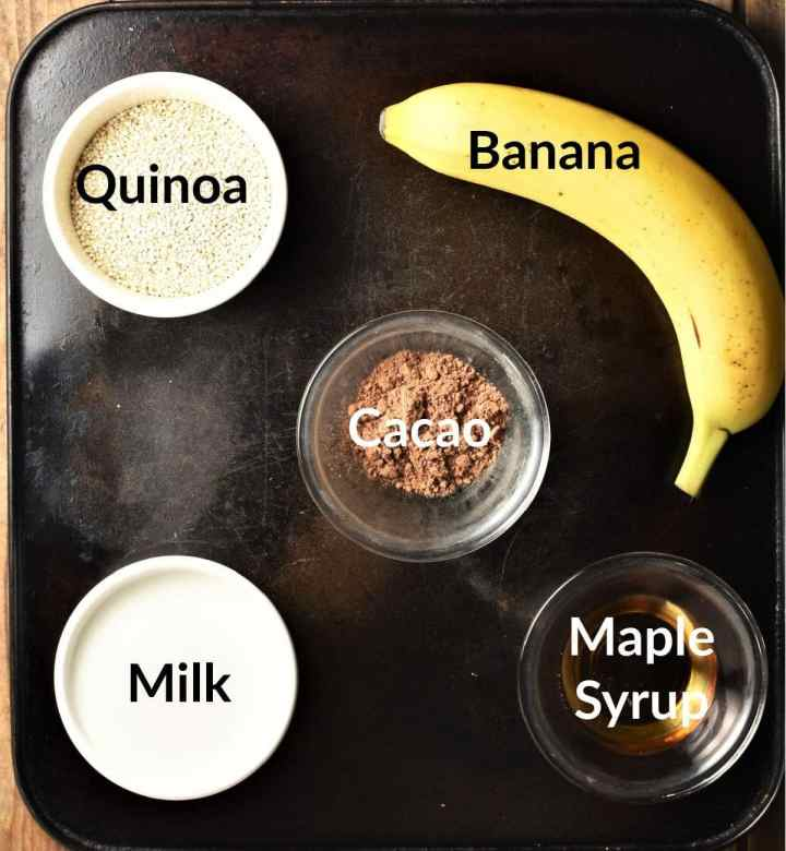 Quinoa porridge ingredients in individual dishes.