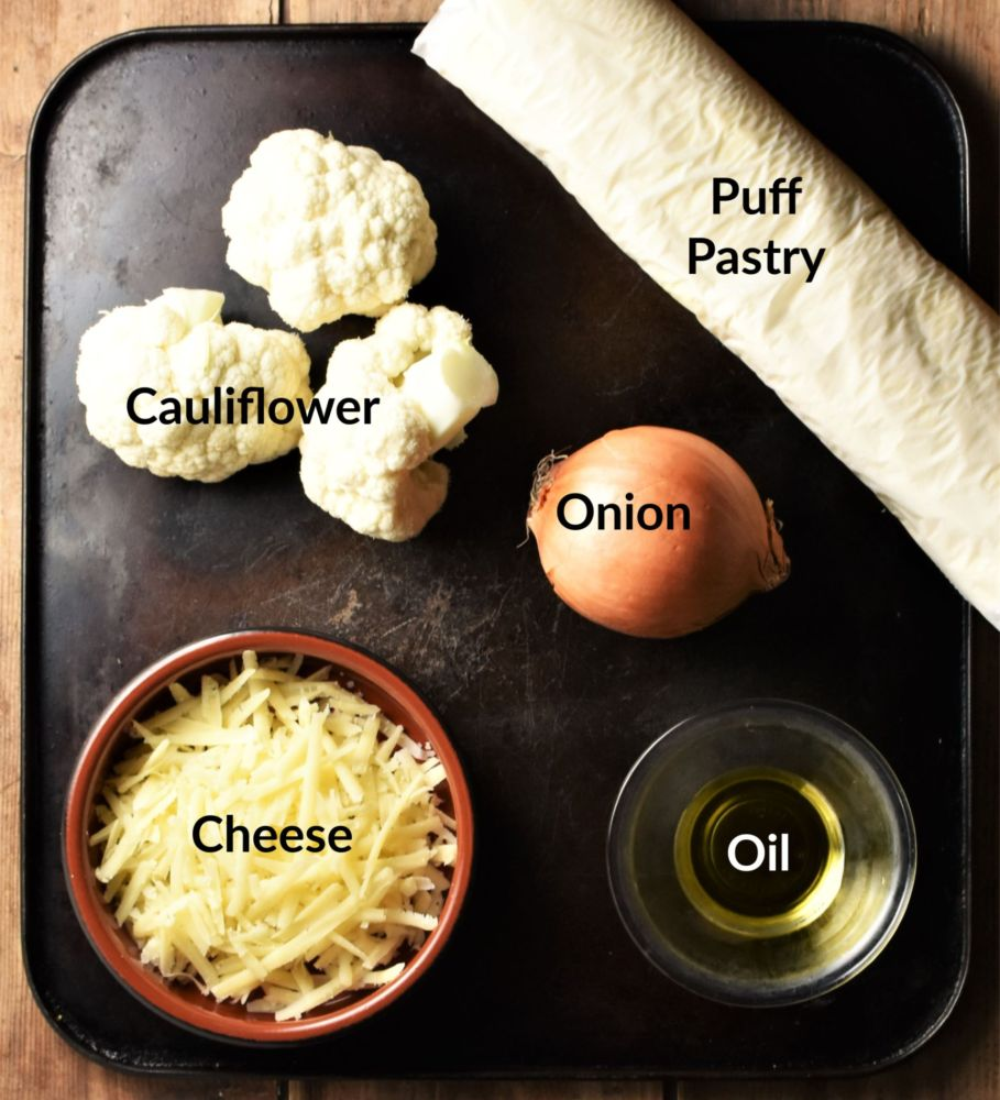 Cauliflower cheese and onion pasties ingredients.