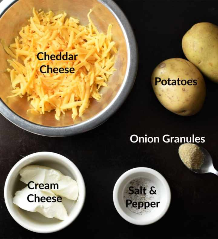 Pierogi filling ingredients in separate dishes.