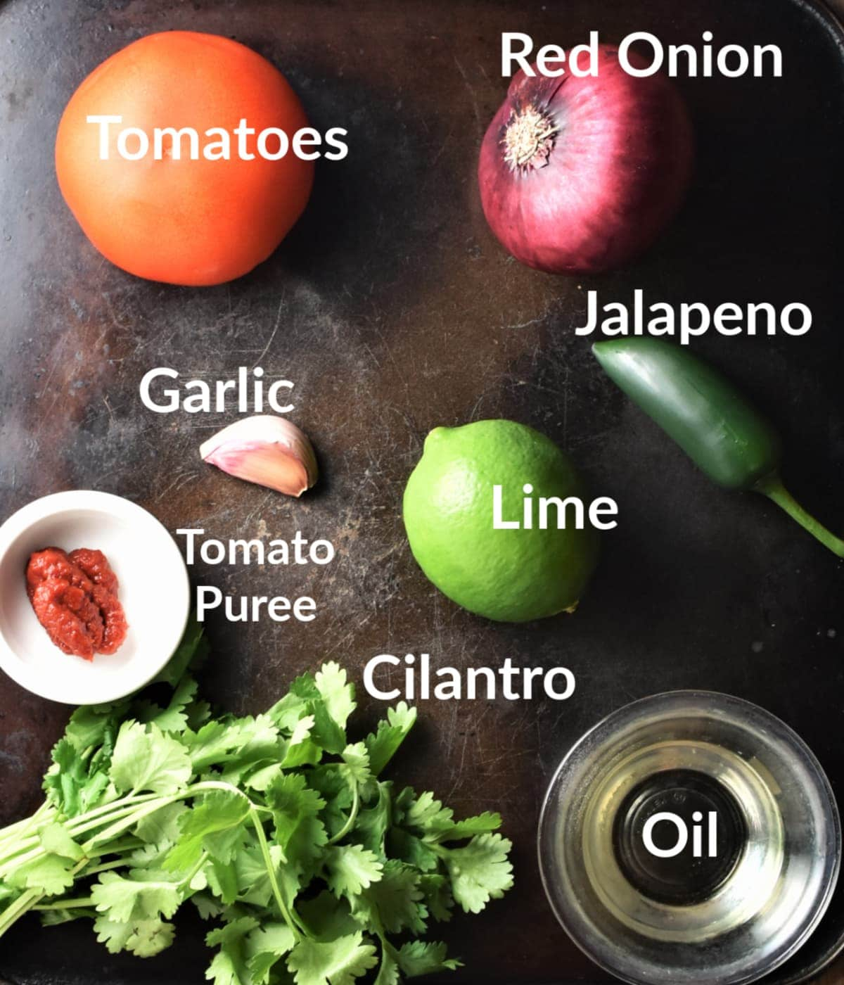 Tomato salsa ingredients against black background.