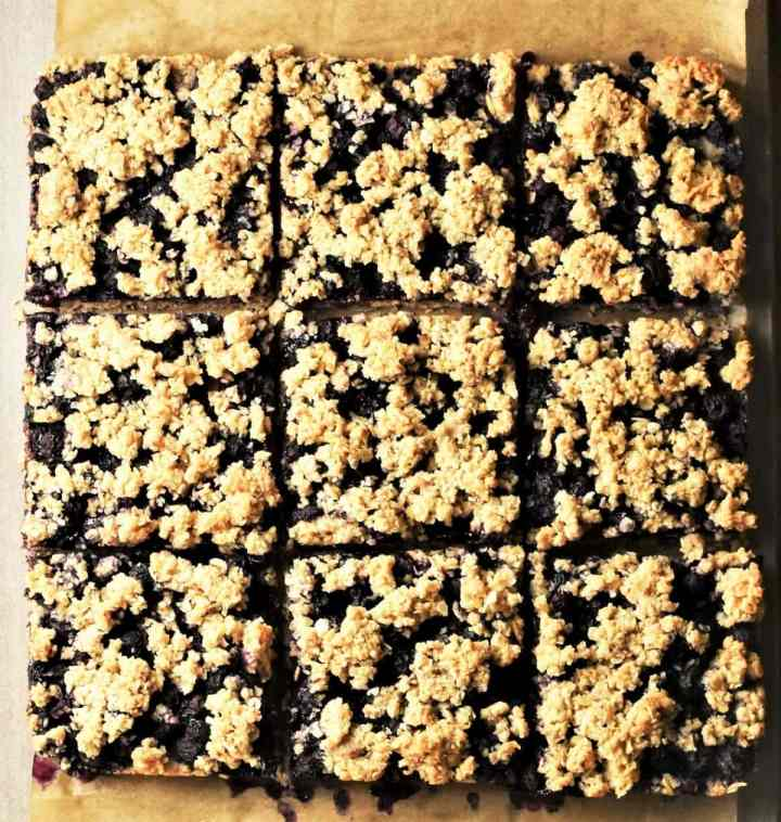 9 blueberry bars on top of parchment.