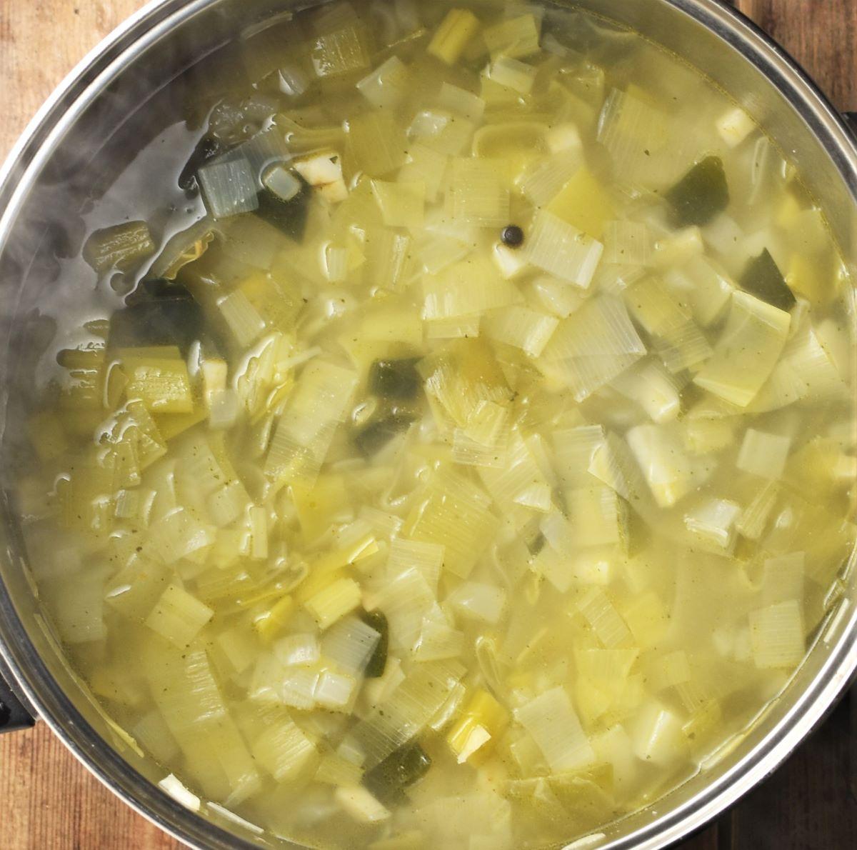 Chunky potato leek soup in pot.