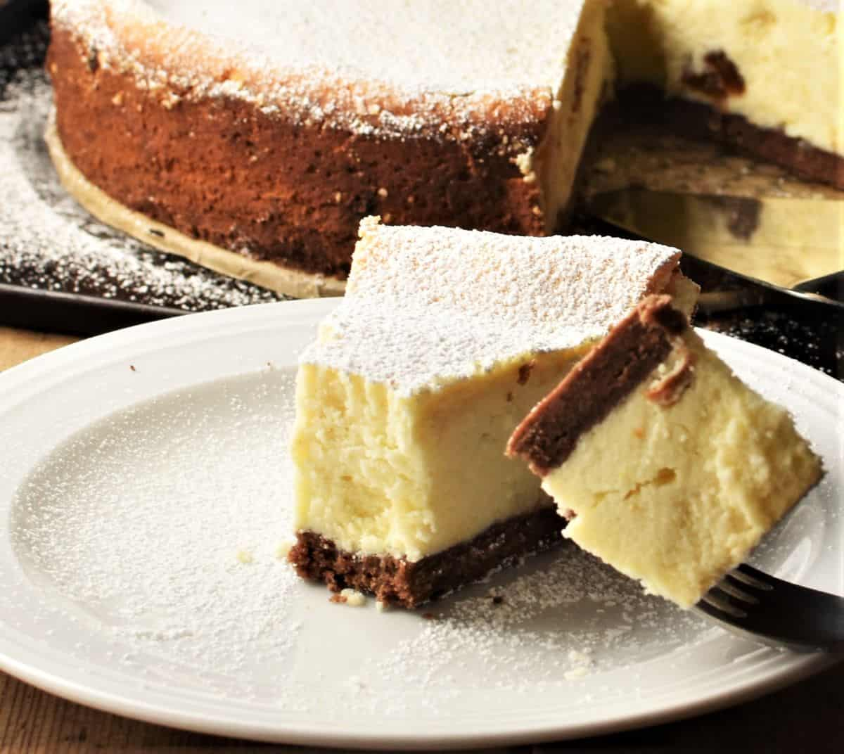 Slice of cheesecake with fork on top of small plate.