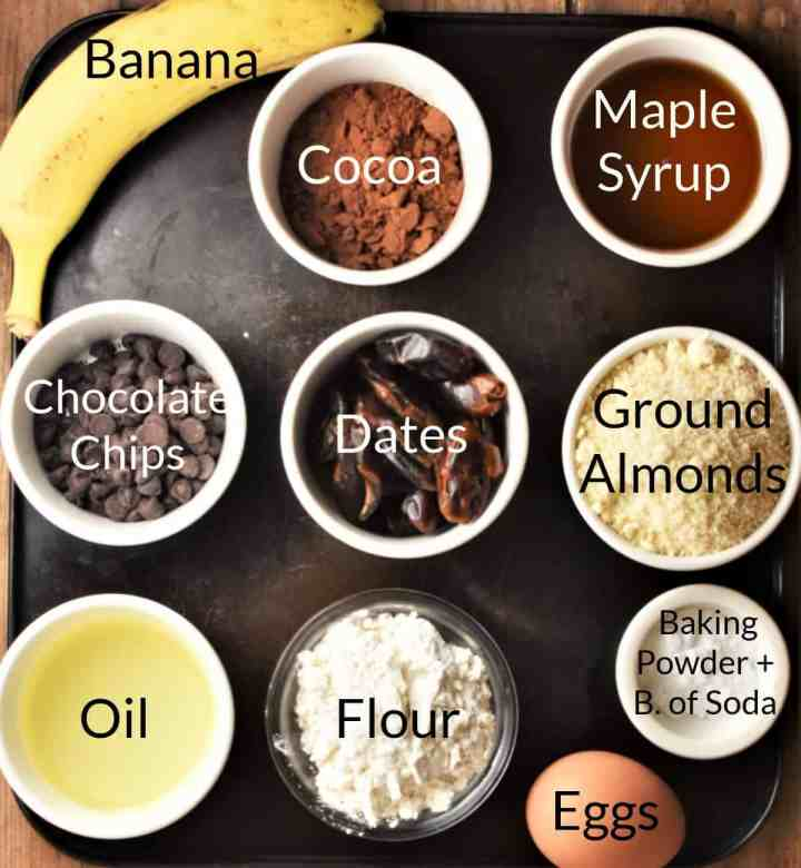 Ingredients for making chocolate banana cake in individual dishes.