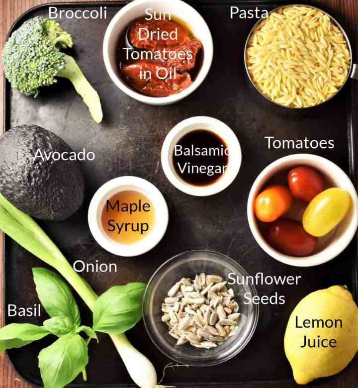 Ingredients for making raw broccoli salad in individual dishes.