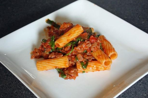 Rigatoni with Spicy Sausage-Tomato Sauce and Arugula