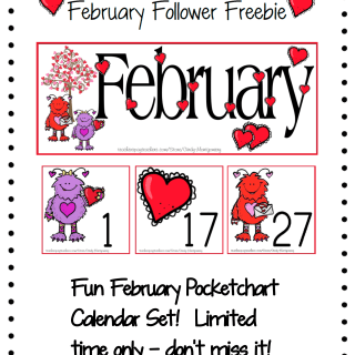 Free Printable February Pocketchart Calendar Set