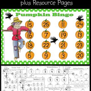 Pumpkin Bingo for Numbers 0 - 25