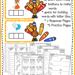 Thanksgiving Short Vowel Words printables