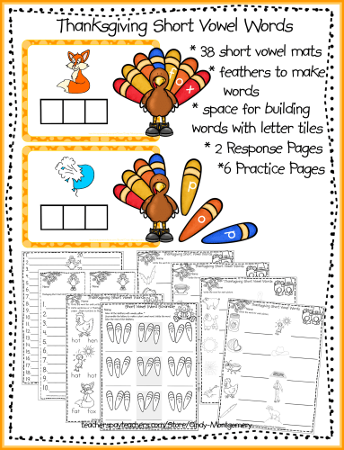 Thanksgiving Short Vowel Words printables